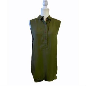 Topshop Olive Green 1/2 Button Henley Tunic